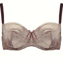 Load image into Gallery viewer, 3 part nude brown, mocha velvet bra with adjustable shoulder straps