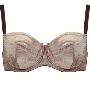 3 part nude brown, mocha velvet bra with adjustable shoulder straps