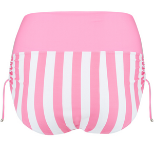 pink brief, bottoms, drawstring side, versatile, fold over and wear as high waisted or midi