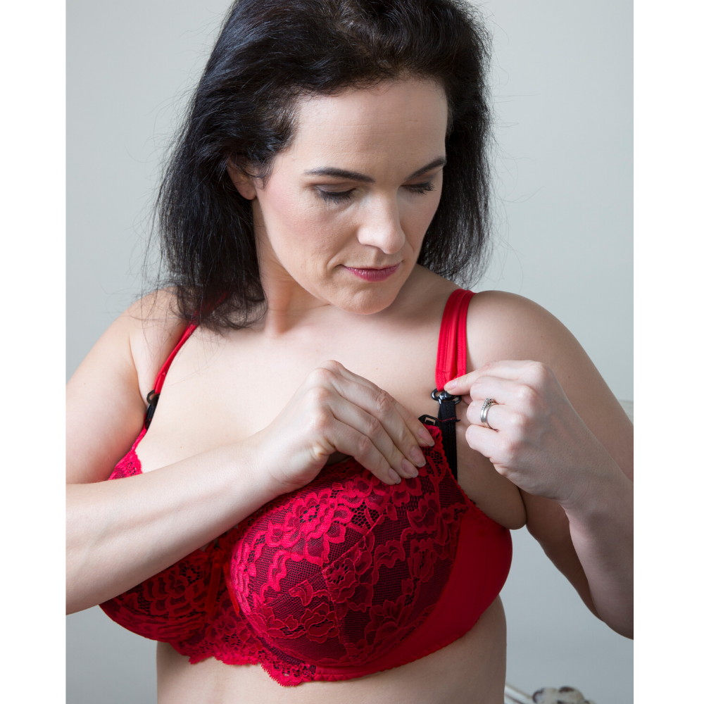 Red Black Lace Plus-Size Maternity Nursing Bra