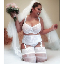 Load image into Gallery viewer, match with white bra bralette and garter belt, perfect for wedding, wedding dress, honeymoon, summer, every day wear
