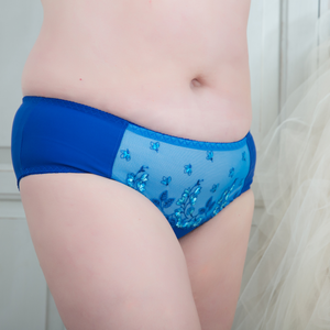 blue panty, blue lace plus size panties