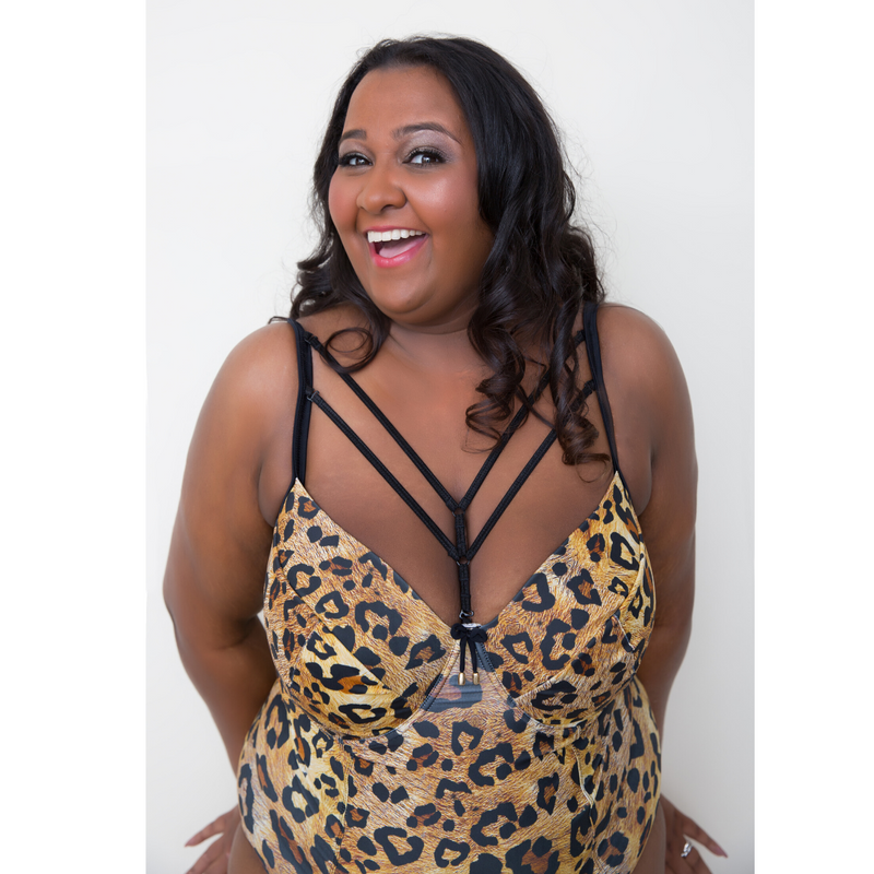 Leopard Animal Print Gold Plus-Size One Piece Swimsuit
