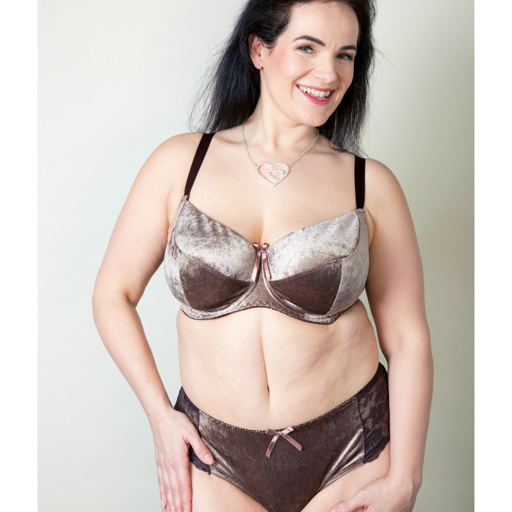 Nude Brown Velvet Lace Plus-Size Bra Bralette