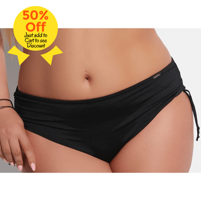 Black Bikini bottoms Plus-Size Bikini Briefs, medium waisted - www.vivavoluptuous.com