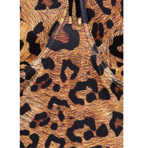 leopard swimwear, strong support, bra cup lightly padded and tie back for extra comfort