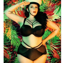 Load image into Gallery viewer, matching plus size harness bra and garter belt