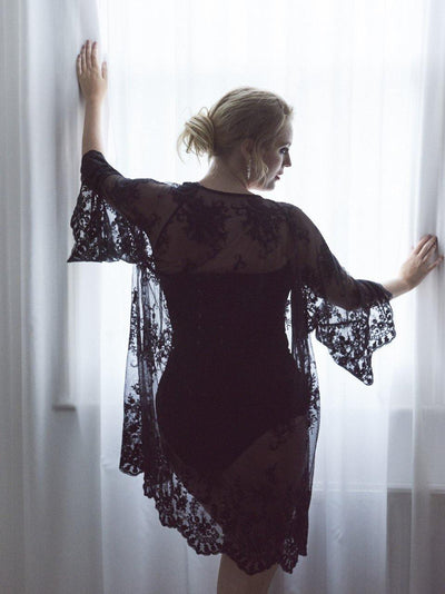 Black Lace Kimono, luxury robe, beach cover-up - www.vivavoluptuous.com