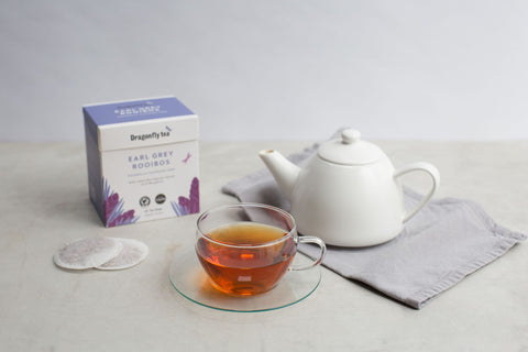 Dragonfly rooibos tea range and packaging