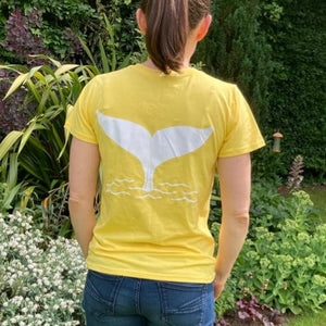 Womens Whale Tail T shirt in Buttercup Yellow