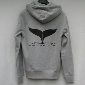 Unisex Whale Tail Pullover Hoodie in Grey