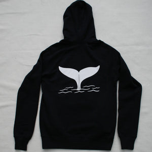 Unisex Whale Tail Pullover Hoodie in Navy