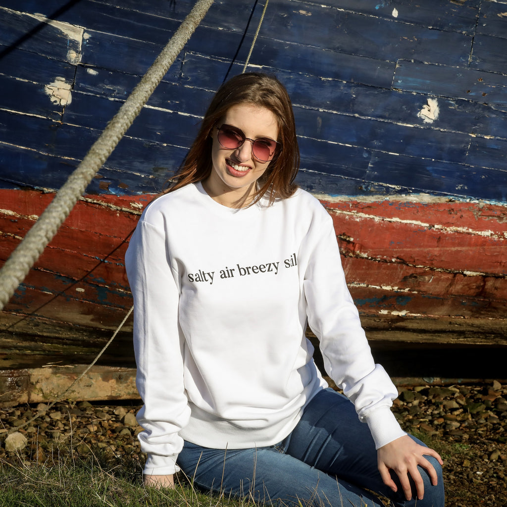 Women's Sweatshirt 'salty air breezy sails' in white mist