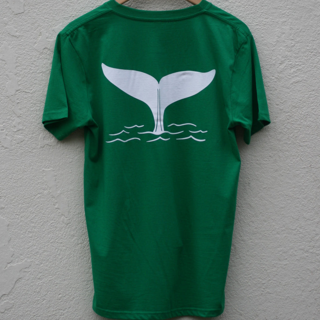 Unisex Whale tail T shirt in Bright Green