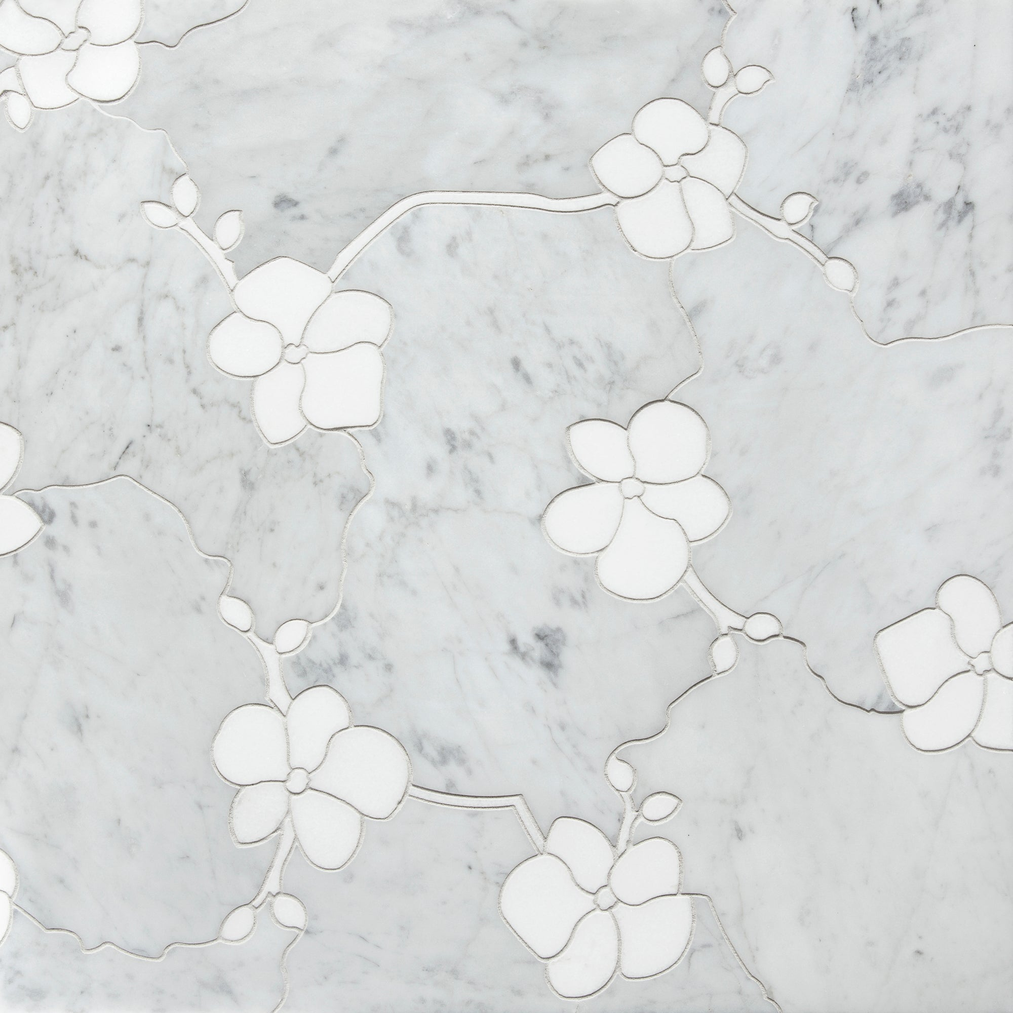 Orchid Flat Bianco Carrara Marble Swatch Card  Polished Samples product photo