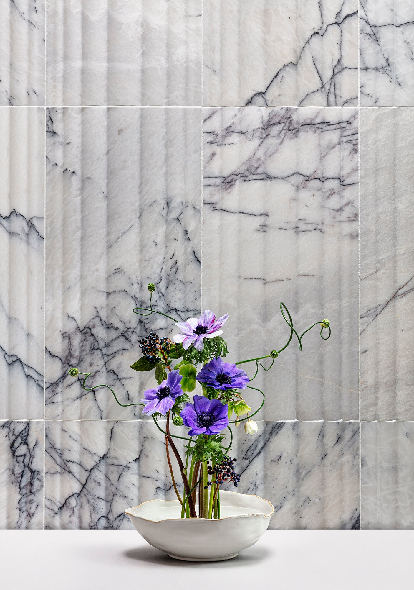Flute Lilac Marble Field Dimensional beauty shot product photo