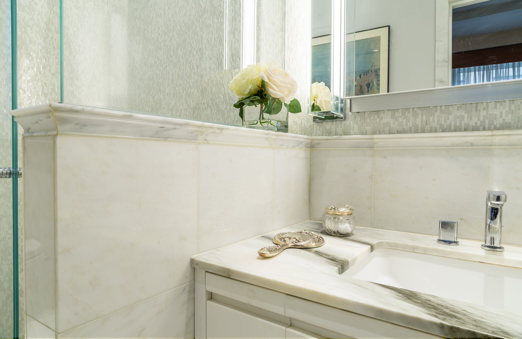 Pacific White Marble Field Tile installation photo