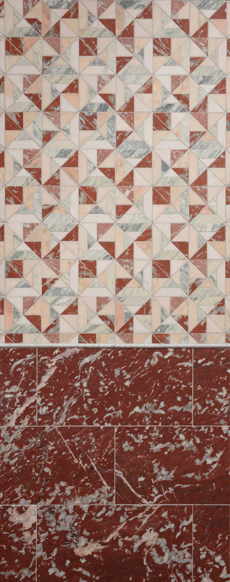 Rosso Francia Marble Field Tile installation photo