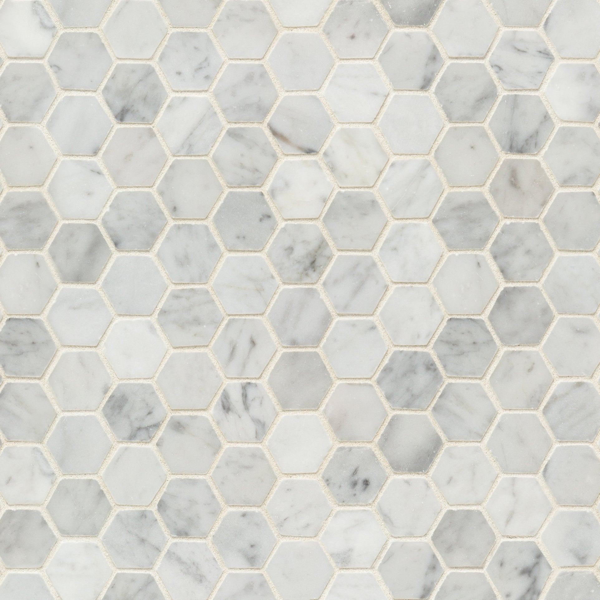 Mosaic Bianco Carrara Marble Swatch Card  Polished Samples Hexagon 3.0cm product photo