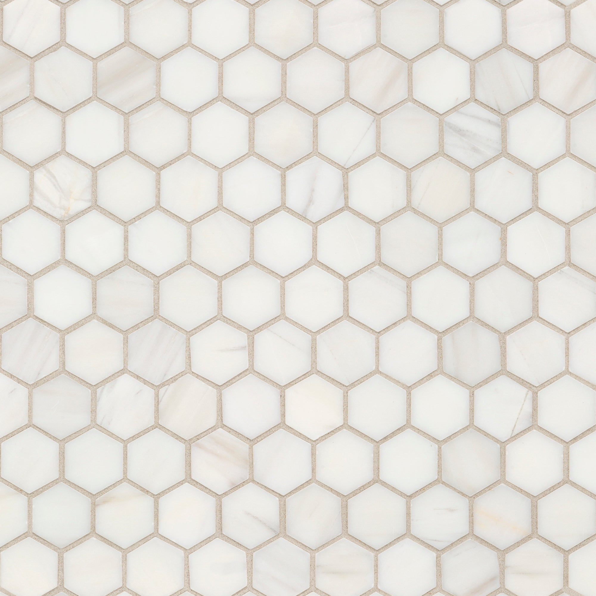 Mosaic Bianco Dolomiti Marble Swatch Card  Polished Samples Hexagon 3.0cm product photo