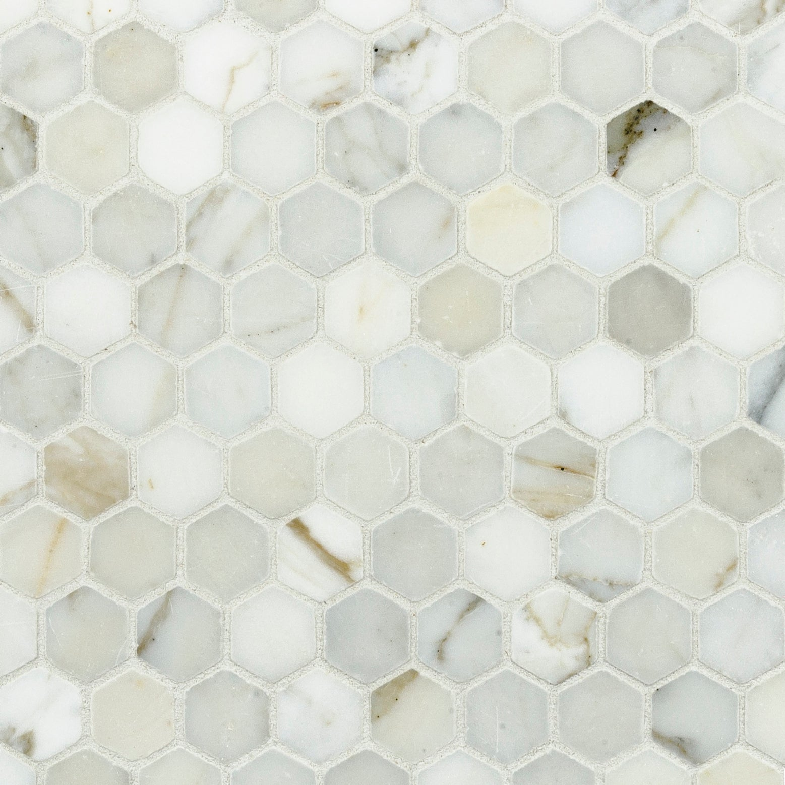 Mosaic Calacatta Gold Marble Swatch Card  Polished Samples Hexagon 3.0cm product photo