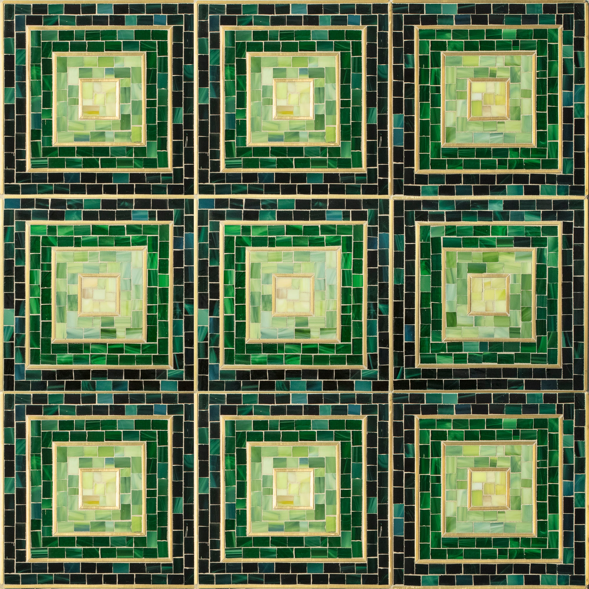 Hip 2B Square Green With Brass Mosaic product photo