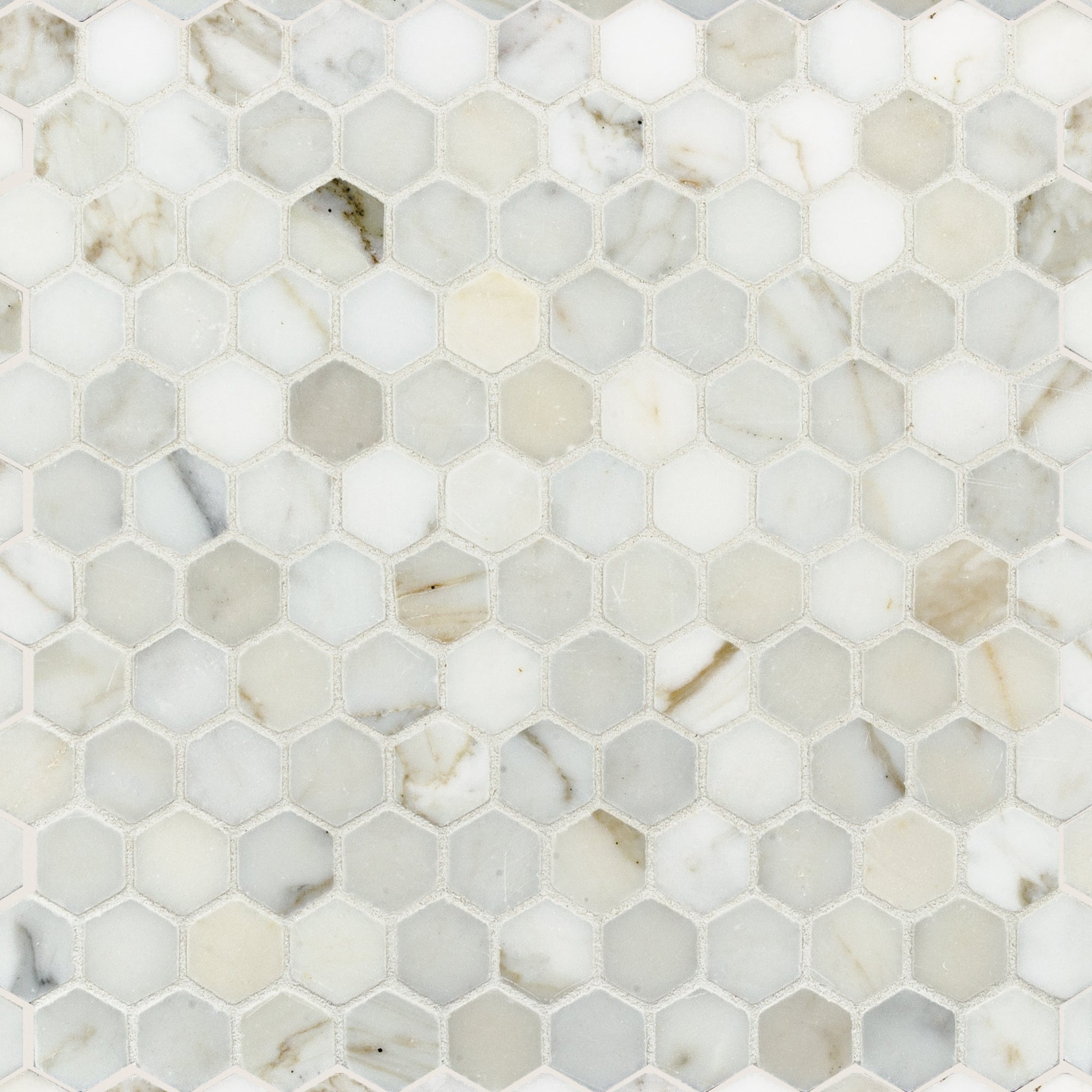 Mosaic Calacatta Gold Marble Swatch Card  Honed Samples Hexagon 3.0cm product photo