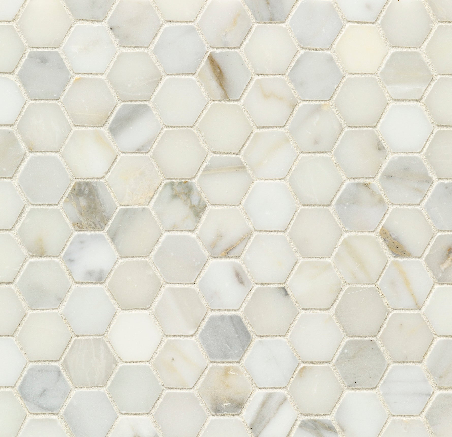 Mosaic Pacific White Marble Swatch Card  Polished Samples Hexagon 3.0cm product photo