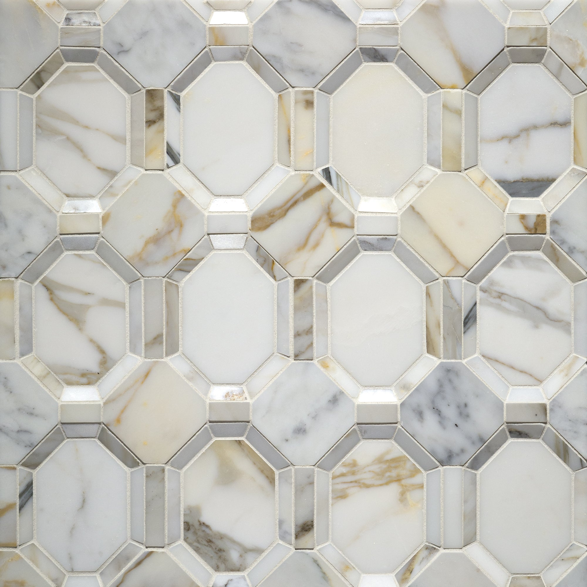 Piatti Calacatta Gold Marble Mosaic Dimensional  Polished Stone product photo