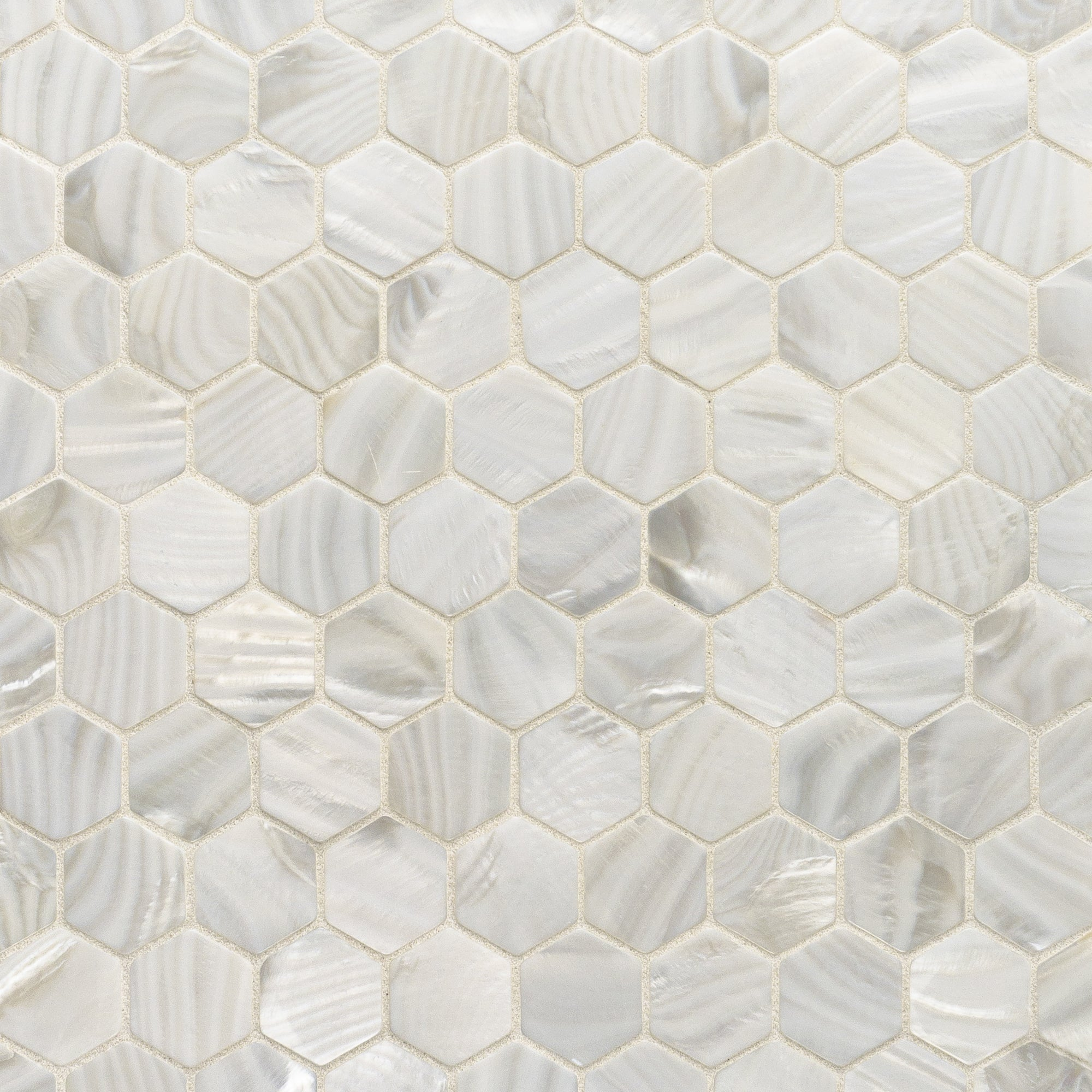 Rivershell White Swatch Card  Polished Samples Hexagon (Unbacked) 3.0cm product photo