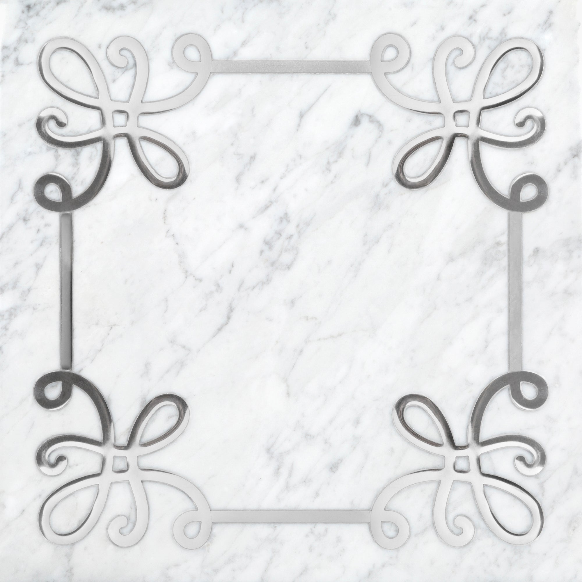 Grand Tour Serpentine Bianco Carrara/Silver Limestone Swatch Card  Polished Samples product photo