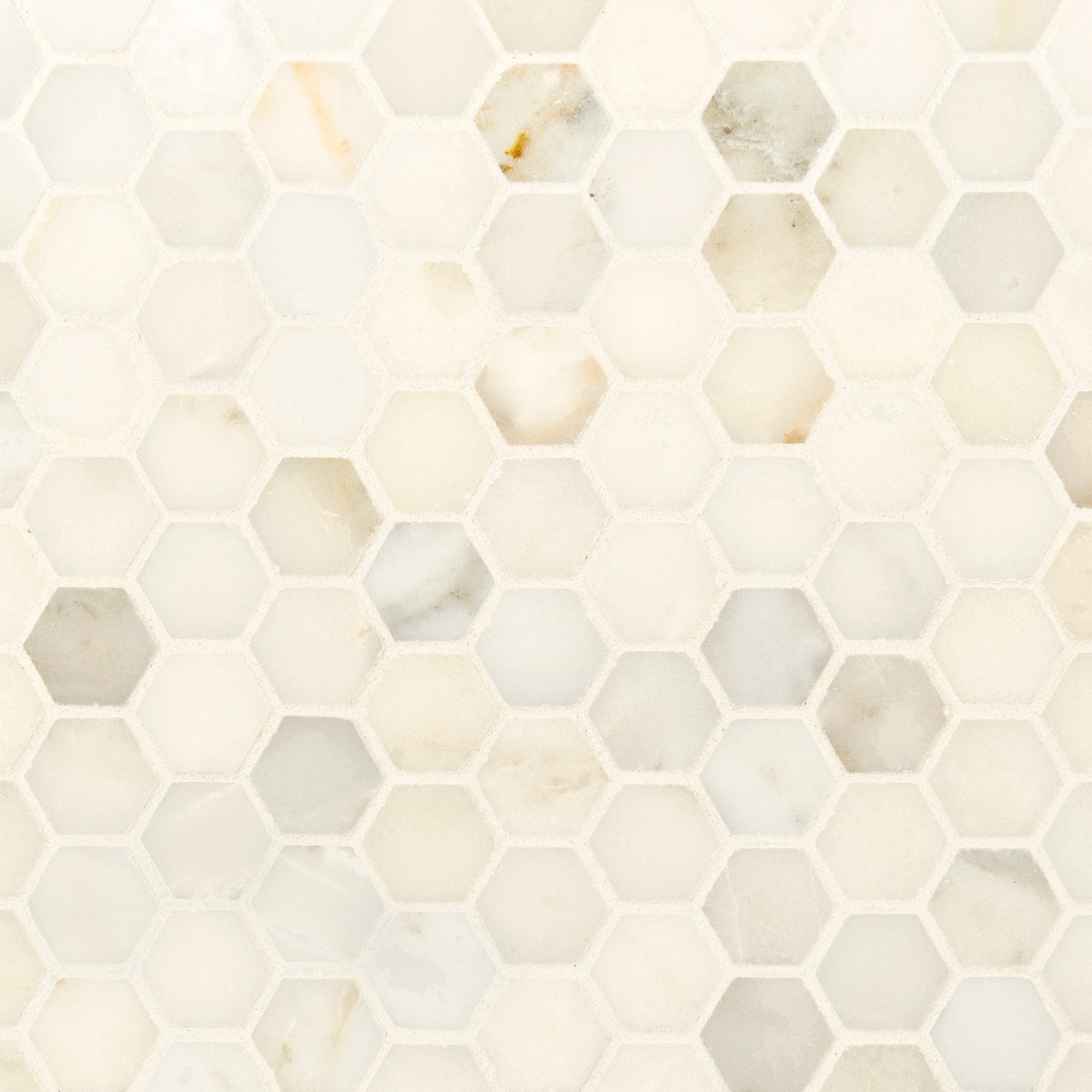 Mosaic Spring White Marble Swatch Card  Polished Samples Hexagon 3.0cm product photo