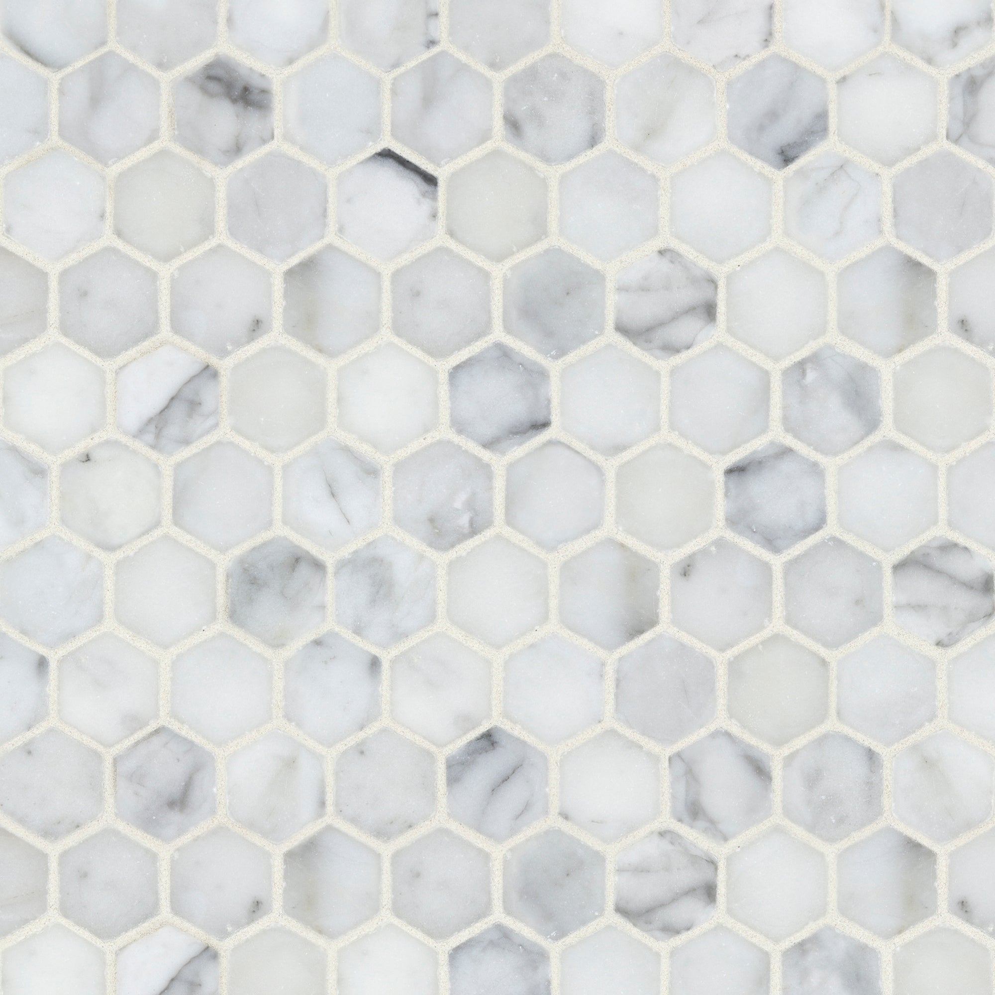 Mosaic Statuary Marble Swatch Card  Polished Samples Hexagon 3.0cm product photo