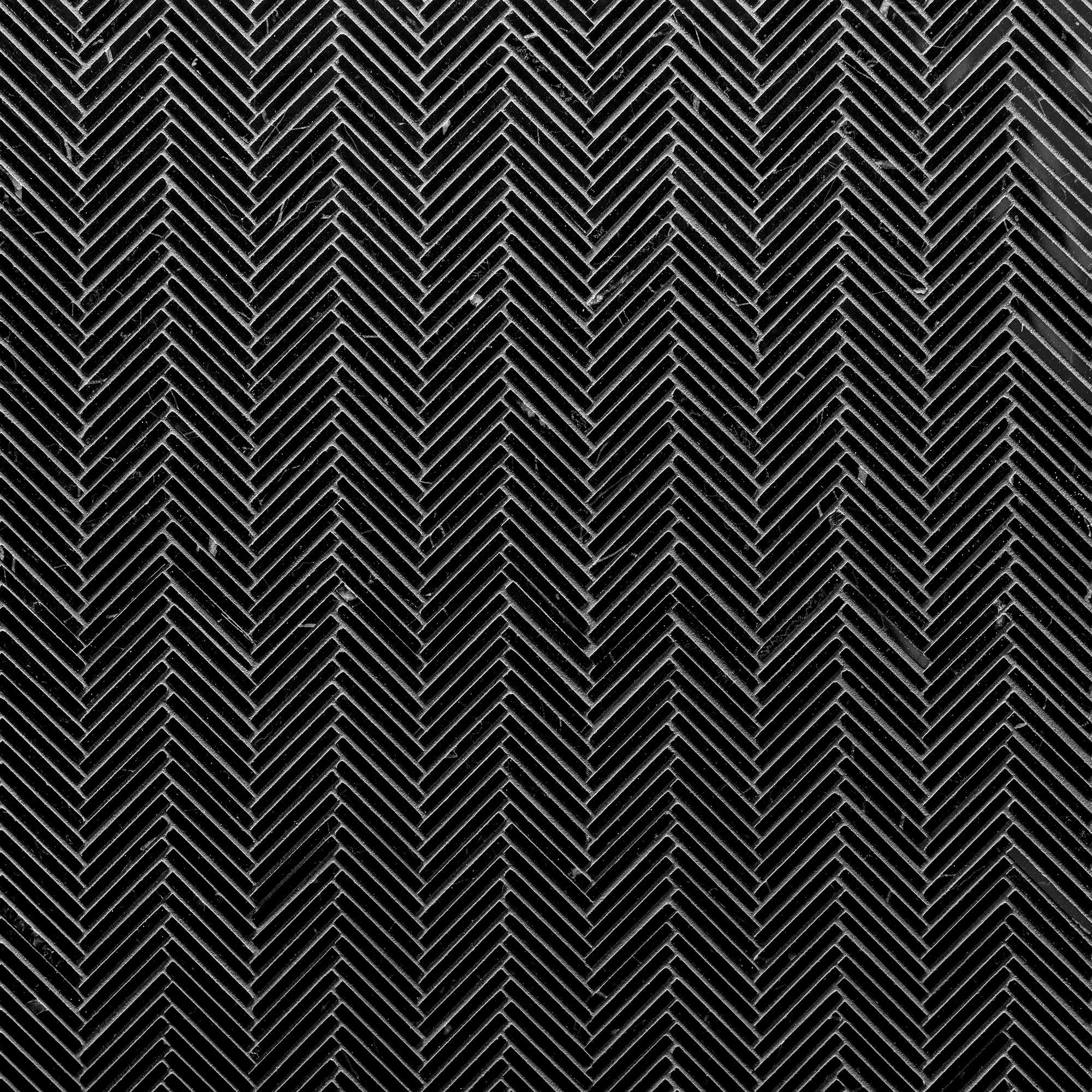 Thin Herringbone Nero Marble Swatch Card  Polished Samples Herringbone product photo