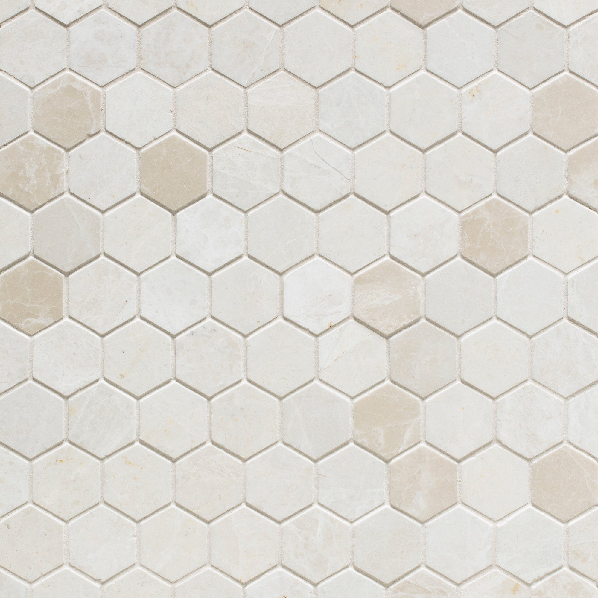 Mosaic White Sand Marble Swatch Card  Polished Samples Hexagon 3.0cm product photo