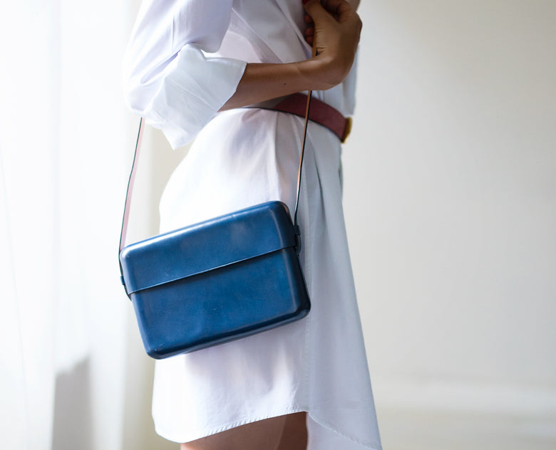 Gloria bag by Il Bussetto in Poseidon Blue