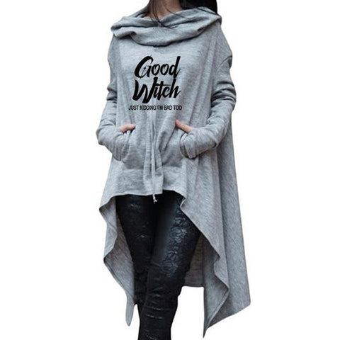 Letter Letters Print Hoodies For Women Long Irregular  Sweatshirts Hoodies Kawaii Femmes Casual 2018 Printing Clothings Street