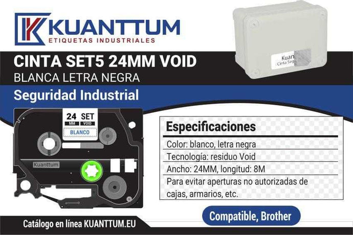 Etiquetas de seguridad void SET5 24mm compatible Brother TZeSE5 - Kuanttum Etiquetas