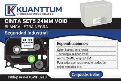 Etiquetas de seguridad void SET5 24mm compatible Brother TZeSE5 - Kuanttum