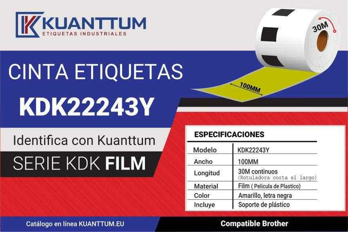 Etiquetas de plástico amarillo 100MM KDK22243Y alternativo Brother DK22243 - Kuanttum
