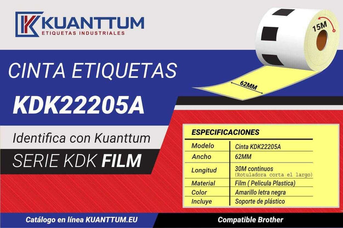 Etiquetas de plástico amarillo 62MM KDK22205 alternativo Brother DK22205 - Kuanttum Etiquetas