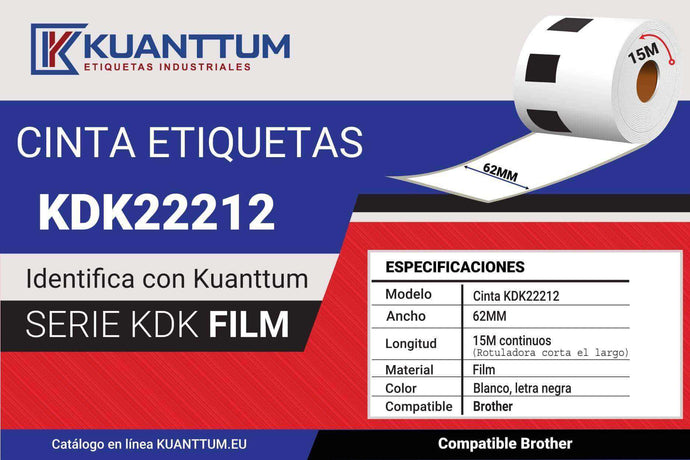 Etiquetas de plástico blanco 62MM KDK22212 compatible Brother DK22212 - Kuanttum