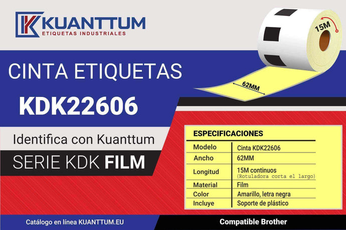 Etiquetas plastico transparente 62MM KDK22606 compatible Bother DK22606 - Kuanttum