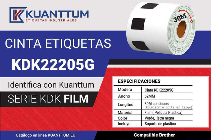 Etiquetas de plástico verde 62MM KDK22205 alternativo Brother DK22205 - Kuanttum Etiquetas