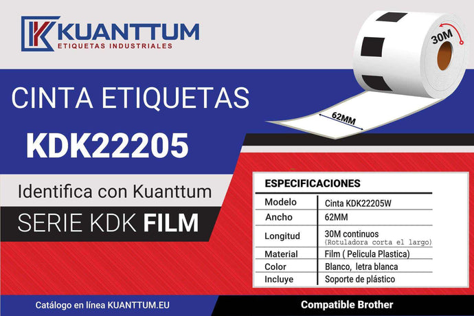 Etiquetas de plástico 62MM KDK22205 alternativo Brother DK22205 - Kuanttum Etiquetas