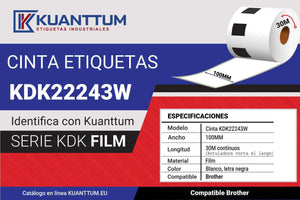 Etiquetas de plástico blanco 100MM KDK22243 alternativo Brother DK22243 - Kuanttum