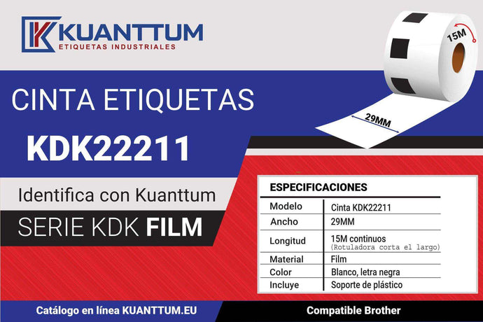 Etiqueta plástico blanco 29MM KDK22211 compatible Brother DK22211 - Kuanttum