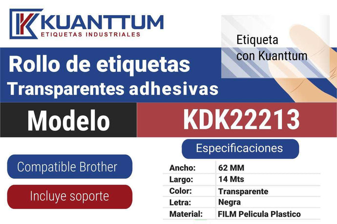 Etiquetas transparente 62MM KDK22113 alternativo Brother DK22113 - Kuanttum Etiquetas