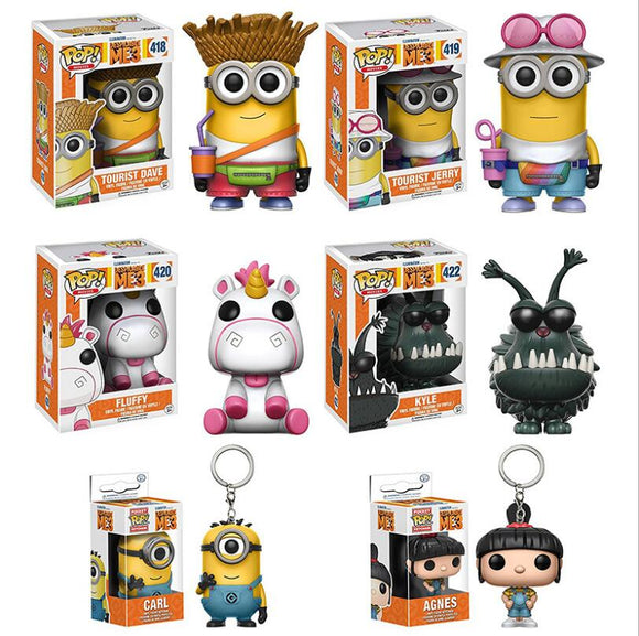 Funko pop Despicable Minions Tourist Jerry Dave Unicorn Fluffy Kyle Agnes brinquedos Action Figure Collection toys for children