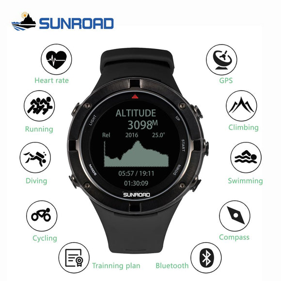 SUNROAD smart GPS heart rate altimeter outdoor sports digital watch